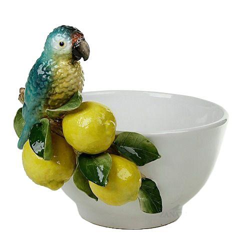 Cachepot com Limōes e Papagaio Azul