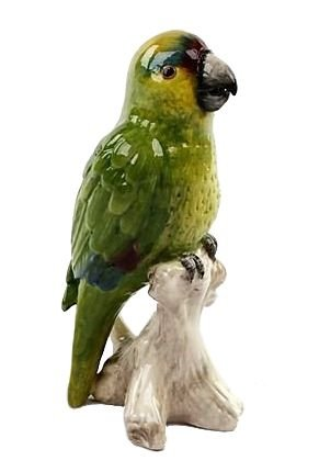 Papagaio de cerâmica P no Tronco Zanatta Casa