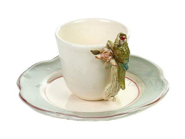 Xícara café Rosas e Pássaro Punta Azul claro Zanatta Casa (cj 2)