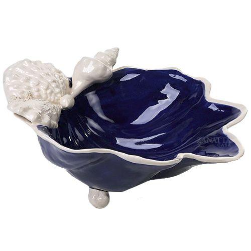 Bowl M azul cobalto com aplicação de conchas Zanatta Casa