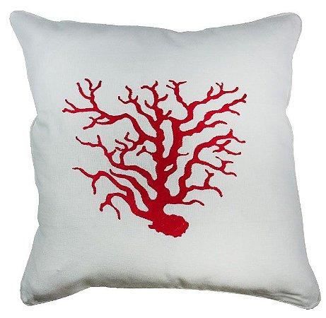 Almofada linho coral vermelho bordada 43x43 cm