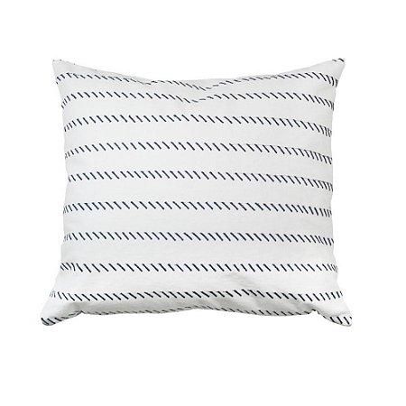 Capa de almofada branca com traços marinho 35x42 cm