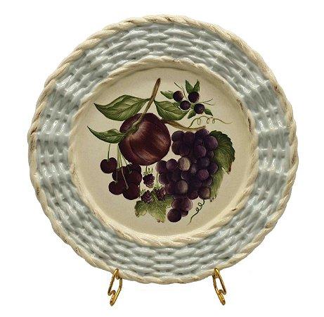 Prato raso borda trançada frutas 3