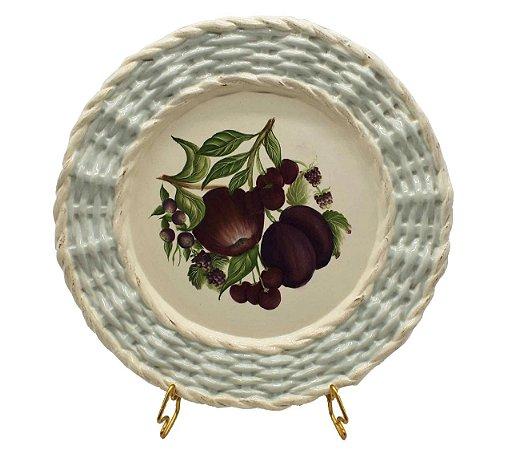 Prato raso borda trançada frutas 4 Zanatta Casa