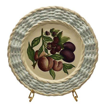 Prato raso borda trançada frutas 5 Zanatta Casa