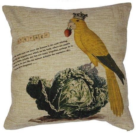 Capa de Almofada pássaro amarelo 45x45 cm