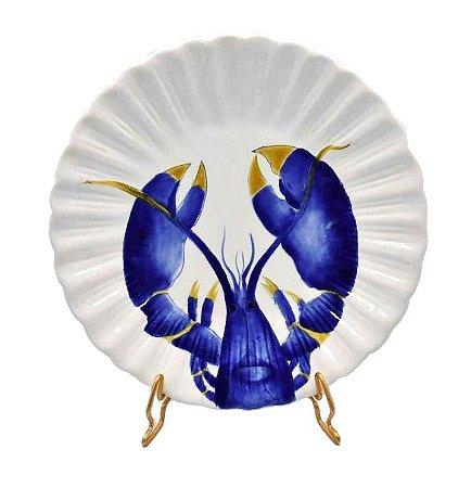 Prato sobremesa desenho lagosta azul Zanatta Casa