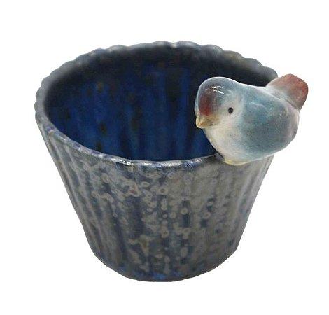 Cachepot bambu P azul com passarinho