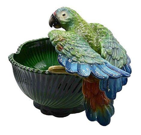 Cachepot palmeira G verde com papagaio
