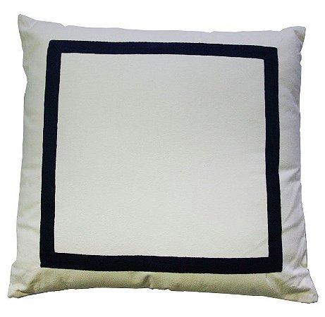 Almofada branca com borda marinho
