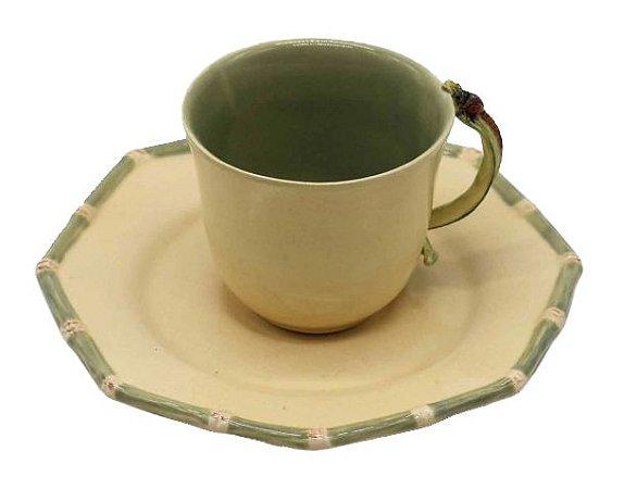Xícara de chá de bambu verde com pires Zanatta Casa