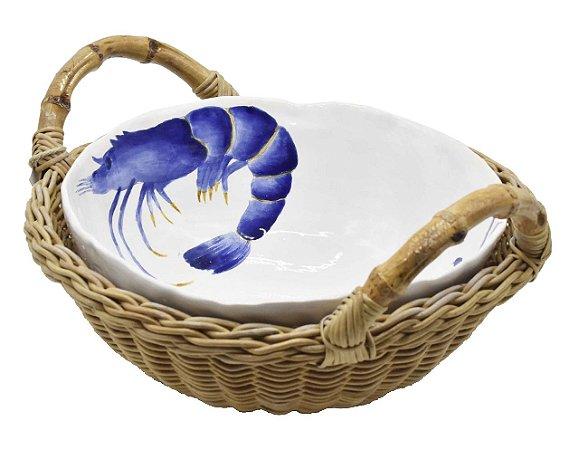 Cesta M com bowl de cerâmica frutos do mar