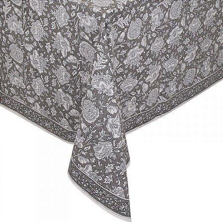 toalha de mesa cinza florida 1,80 x 1,80m