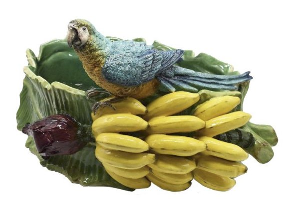 Cachepot Arara com penca de bananeira