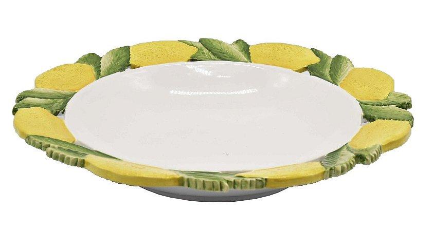 Travessa redonda com borda de limão siciliano Zanatta Casa