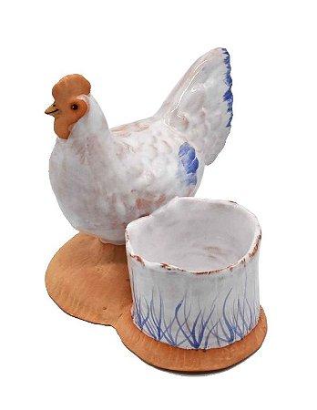 Galinha com vasinho branco azul terracota Zanatta Casa
