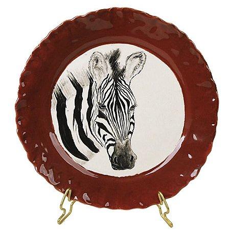 Prato sobremesa zebra borda vermelha Zanatta Casa