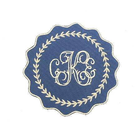 Porta copos azul monograma (set com 6)