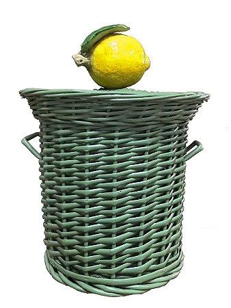 Lixeira de vime com limão siciliano Zanatta Casa