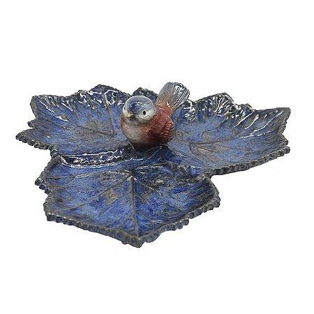 Petisqueira trio folhas de uva azul com pássaro Zanatta Casa