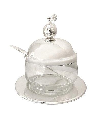 Porta geleia prata e vidro com frutinha