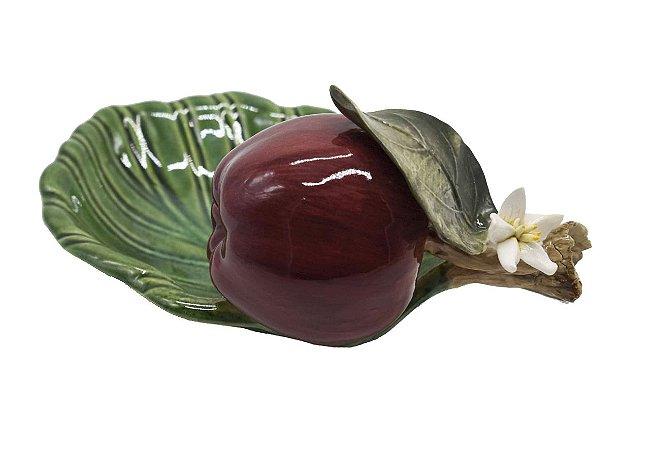 Petisqueira folha com maçã e flor Zanatta Casa
