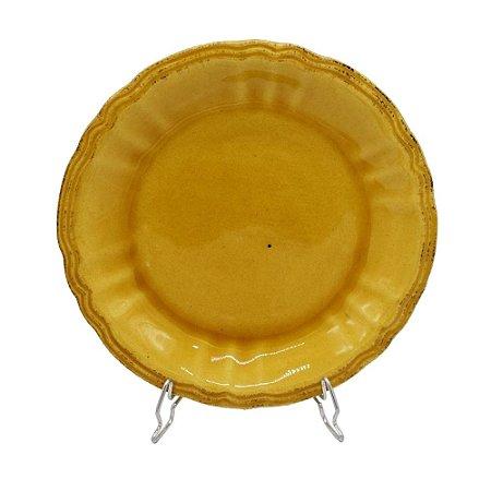 Prato sobremesa amarelo mostarda (cj 4)