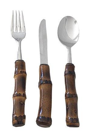 Faqueiro jantar bambu escuro 18 peças