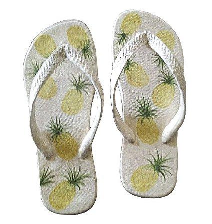 Par de chinelos de cerâmica abacaxi Zanatta Casa