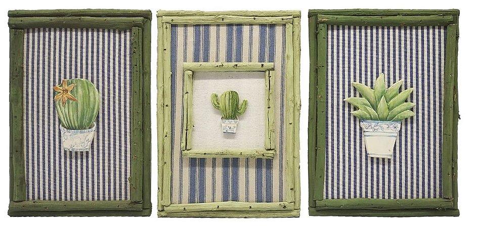 Trio quadro plantas moldura rústica