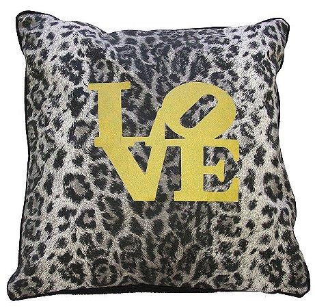 Capa de Almofada oncinha Love com dourado 45x45 cm
