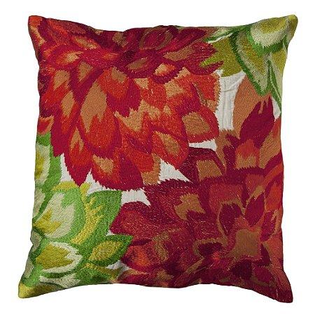 Almofada Flores Bordadas vermelho e verde