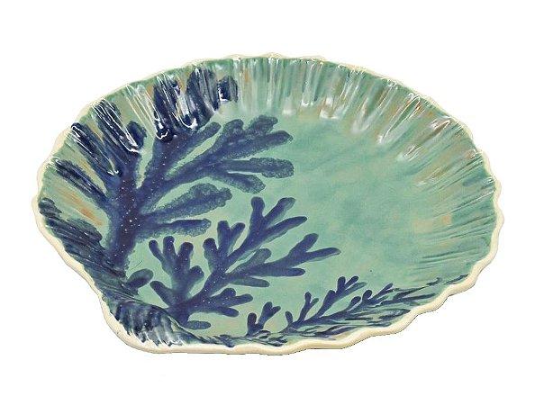 Sousplat Concha com desenho de coral zanatta casa (cj 2)