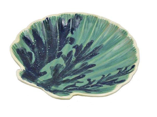 Prato sobremesa concha com coral azul Zanatta Casa (cj 2)