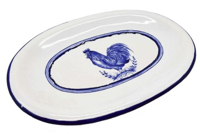 Bandeja oval galo branco e azul