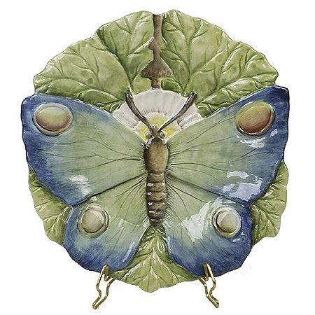 Prato sobremesa borboleta relevo azul Zanatta Casa