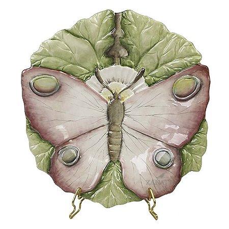 Prato sobremesa borboleta relevo rosa Zanatta Casa