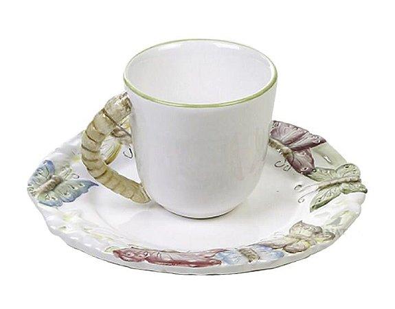 Xícara de café borboleta relevo Zanatta Casa