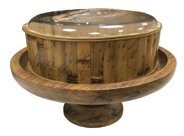 Boleira/Fruteira com tampa acrílica com bambu