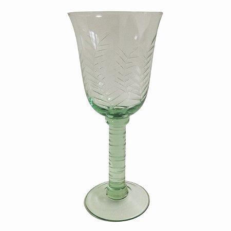 Taça folhas verde lapidada vinho (cj com 6)