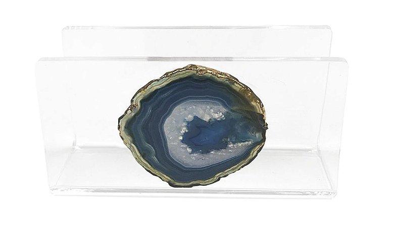 Porta guardanapo de papel em acrílico com ágata azul e branca