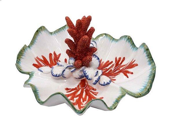 Petisqueira borda ondulada coral e conchas Zanatta Casa