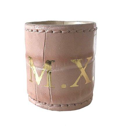 Porta guardanapo croco monograma rosa claro