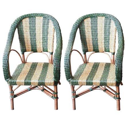 Cadeiras Listas verdes (par)