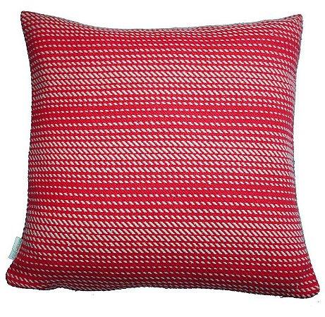 Capa de Almofada Ecossustentável Rajada vermelho e rosa