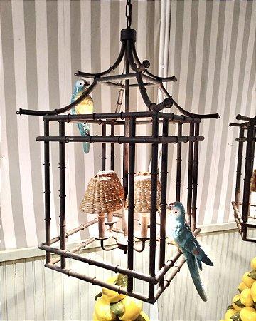 Lustre Chino com 2 pássaros e cúpulas de taboa Zanatta Casa