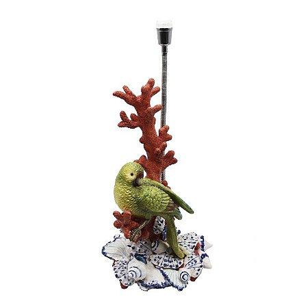 Base de abajur de coral com pássaro e conchas Zanatta Casa
