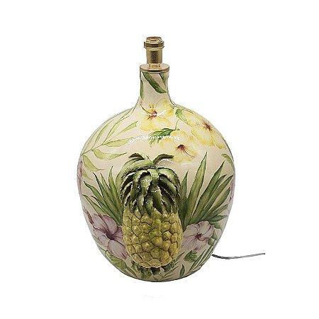 Base de abajur com pintura e aplicação de abacaxi Zanatta Casa