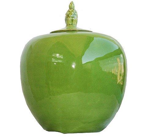 Potiche verde com tampa abacaxi (40cm de altura)