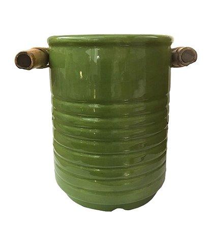 Pote cerâmica verde para colher de pau